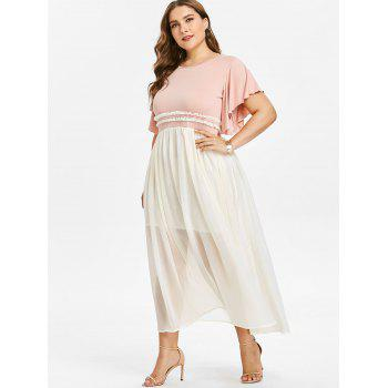 Plus Size Color Block Flowy Dress - LIGHT PINK 3X