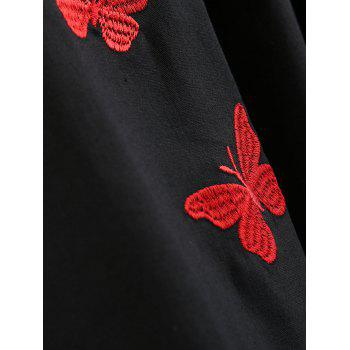 Sleeveless Butterfly Embroidery Vintage Dress - BLACK XL