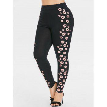 Plus Size Lips Pattern High Waisted Leggings - BLACK 2X