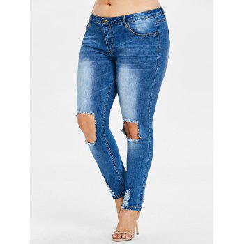 Plus Size Frayed Destroyed Skinny Jeans - JEANS BLUE 5X