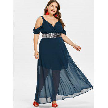 Robe Fluide à Taille Empire Grande-Taille - Cadetblue 5X