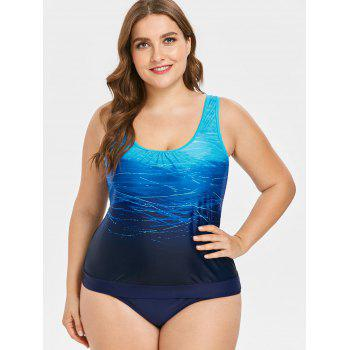 Plus Size Print Tankini Set - BLUE 4X