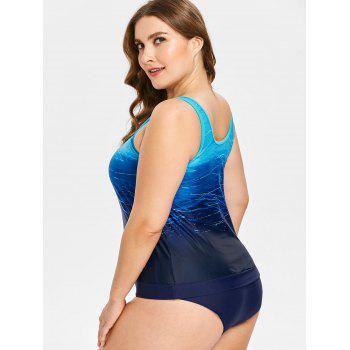 Plus Size Print Tankini Set - BLUE 1X