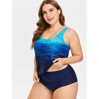 Plus Size Print Tankini Set - BLUE 5X