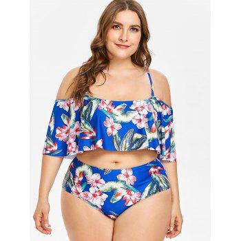 Plus Size Floral High Waisted Bikini Set - BLUE 5X