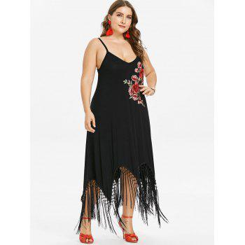 Plus Size Floral Embroidery Ankle Length Dress - BLACK L