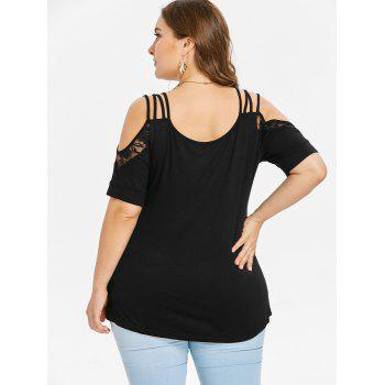 V Neck Plus Size Cold Shoulder T-shirt - BLACK L