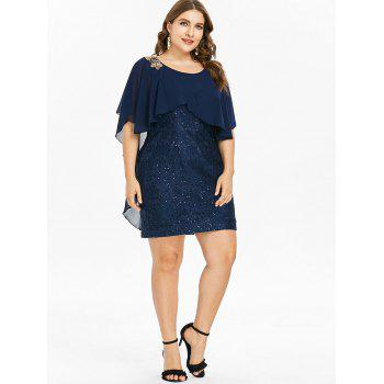 Overlay Plus Size Sequin Embellished Dress - CADETBLUE 1X