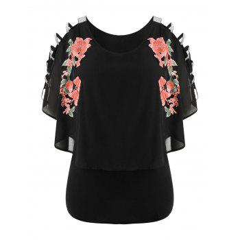Plus Size Embroidery Cutout Overlay T-shirt - BLACK 1X