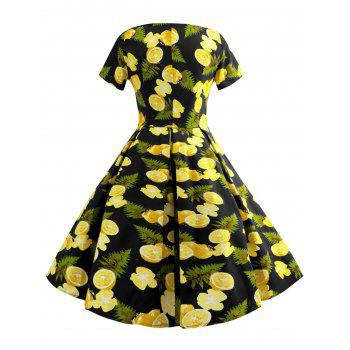 Fruit Print Round Neck Vintage Dress - BLACK 2XL