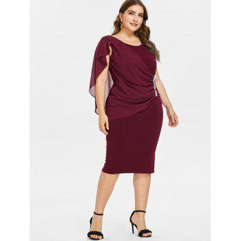 Plus Size Ruched Overlay Fitted Dress - RED WINE L