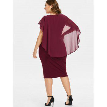Plus Size Ruched Overlay Fitted Dress - RED WINE 1X