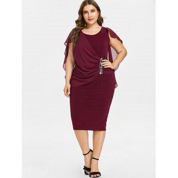 Plus Size Ruched Overlay Fitted Dress - RED WINE 2X