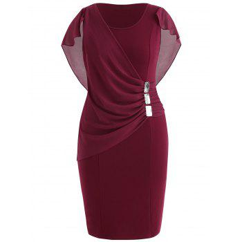 Plus Size Ruched Overlay Fitted Dress - RED WINE 5X