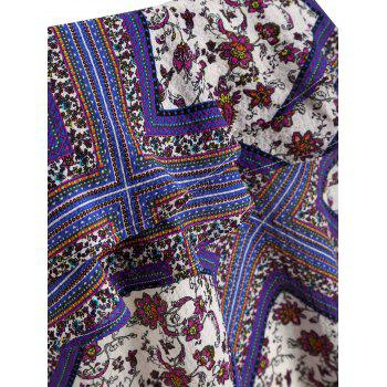 Flounce Insert Ethnic Print Plus Size Blouse - PURPLE 4X