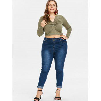 Twist Plus Size Long Sleeve Top - ARMY GREEN 2X