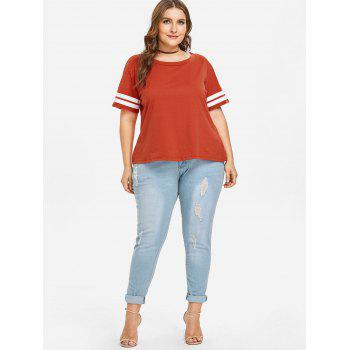 Plus Size Stripe Panel Tee - FIREBRICK 3X