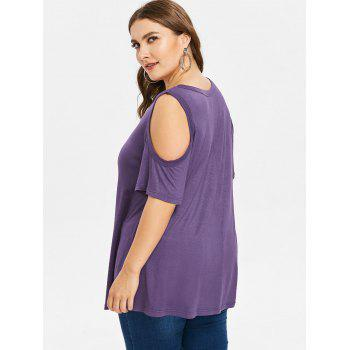 Plus Size Open Shoulder Lattice Top - PURPLE 2X