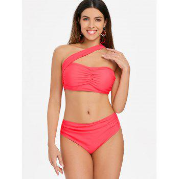 High Waist One Strap Bikini - WATERMELON PINK XL