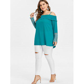 Plus Size Cold Shoulder Blouse - MACAW BLUE GREEN 1X