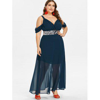 Robe Fluide à Taille Empire Grande-Taille - Cadetblue 3X