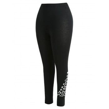 Plus Size High Waist Bat Print Leggings - BLACK L