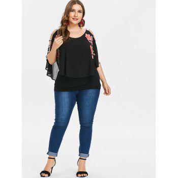 Plus Size Embroidery Cutout Overlay T-shirt - BLACK L