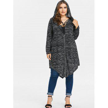 Plus Size Hooded Zip Up Coat with Tank Top - BLACK 3X