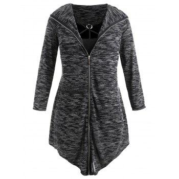 Plus Size Hooded Zip Up Coat with Tank Top - BLACK 5X