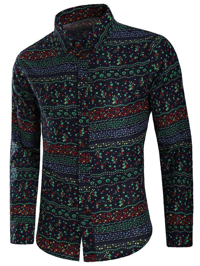 Allover Small Flowers Print Shirt - multicolor 3XL
