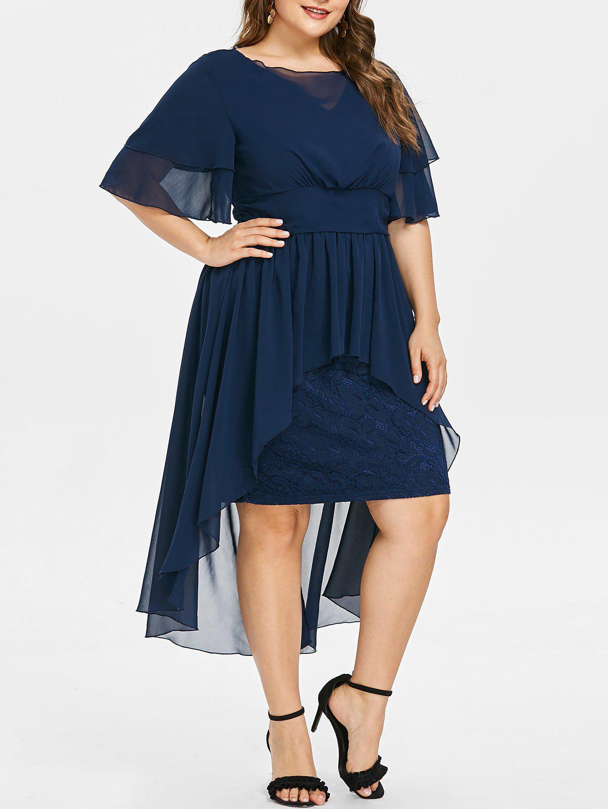 High Waist Plus Size Lace Insert Dress - MIDNIGHT BLUE L