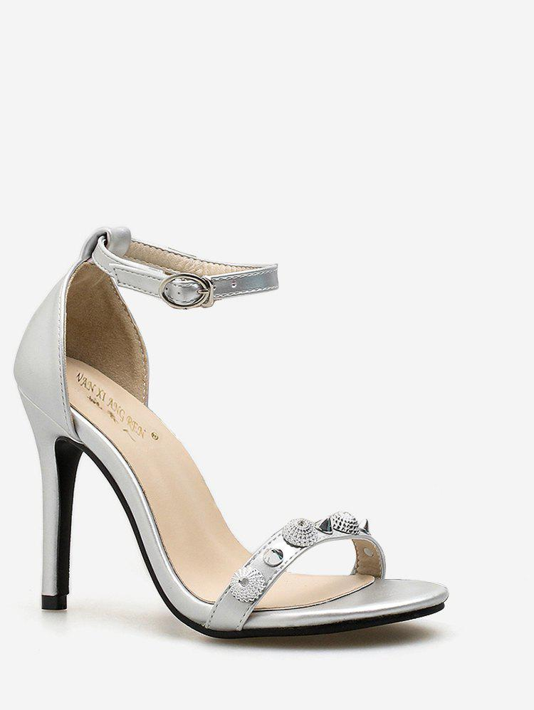 Rivet Strap PU Leather Stiletto Heel Pumps - SILVER 39