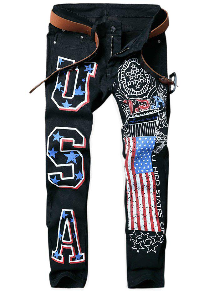 Letter Star Stripe Printed Zipper Fly Jeans - BLACK 32