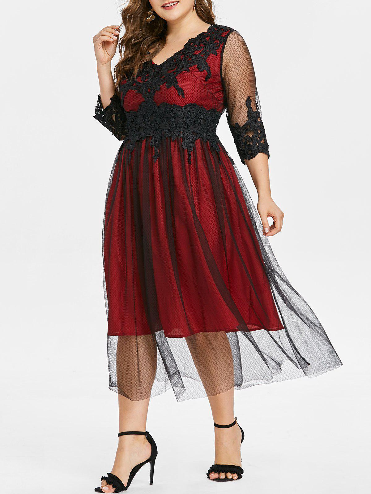 Plus Size Lace Panel V Neck Flowing Dress - RED L