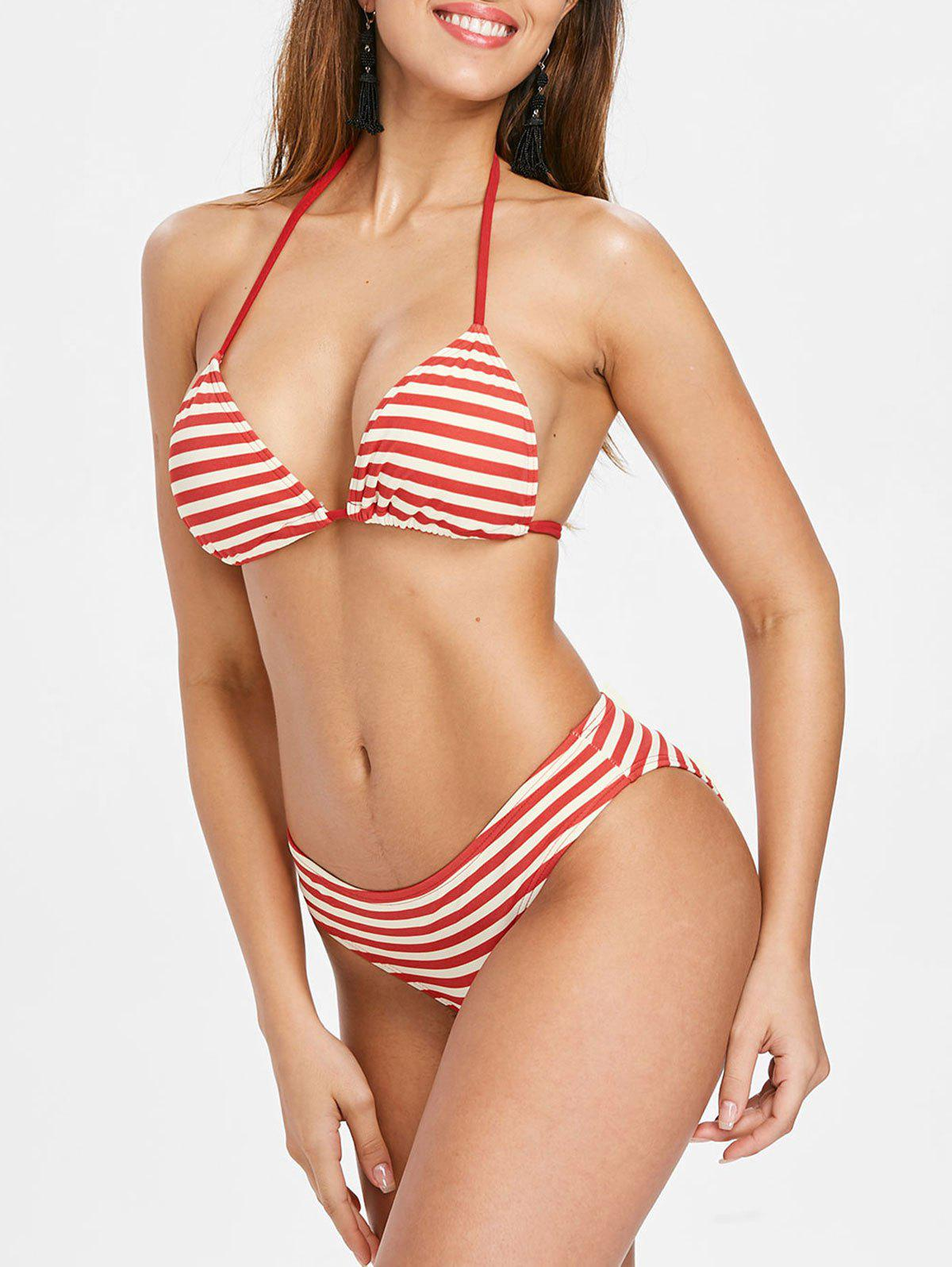 Padded Striped Halter Neck Bikini Set - RED L