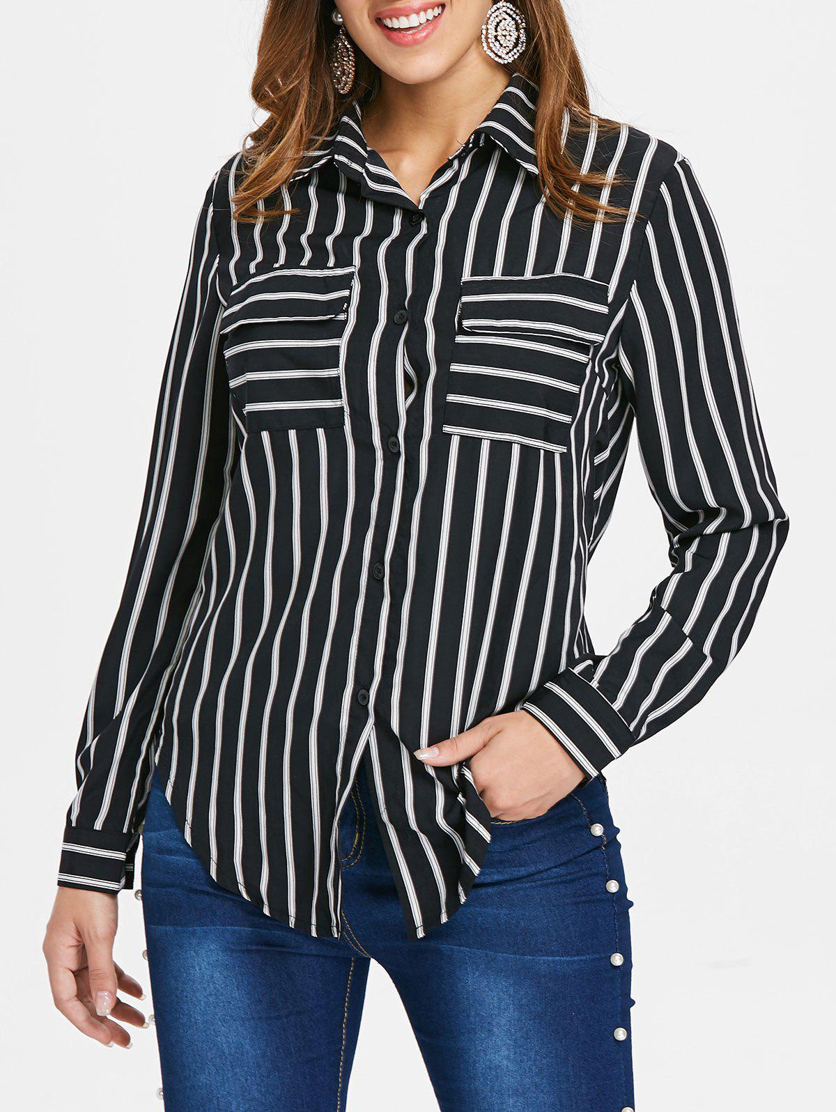 Striped Button Up Shirt - BLACK XL