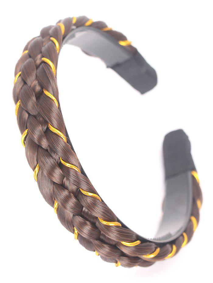 Synthetic Fiber Braid Decorative Hair Band - GOLD