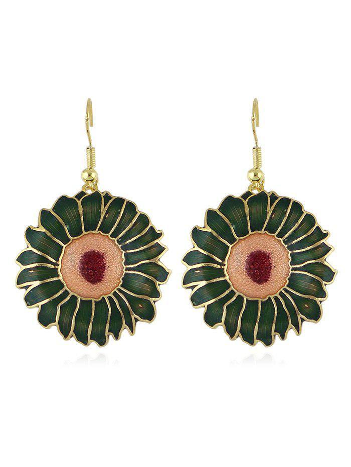 Enamel Round Pendant Earrings - GREEN