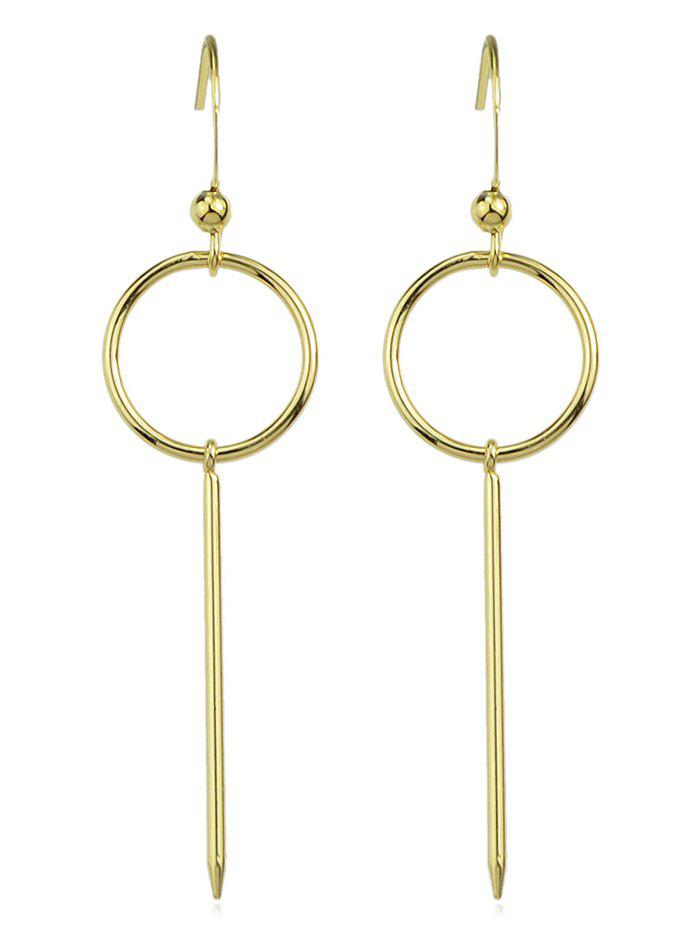 Simple Circle and Long Bar Earrings - GOLD