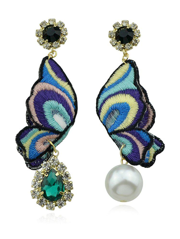 Teardrop Artificial Emerald Diamante Earrings - multicolor A