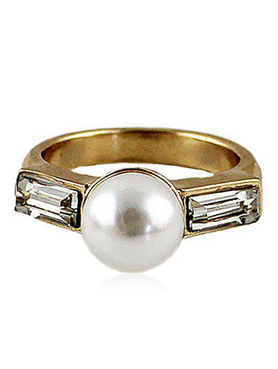 Diamante Ring With Faux Pearl - GOLD ONE-SIZE