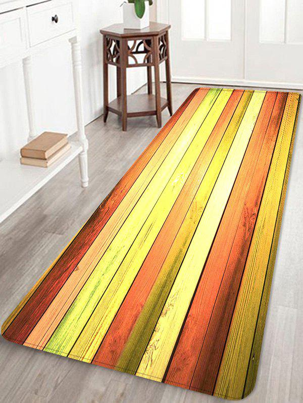 Colorful Wood Flooring Pattern Anti-slid Floor Area Rug - multicolor W24 INCH * L71 INCH