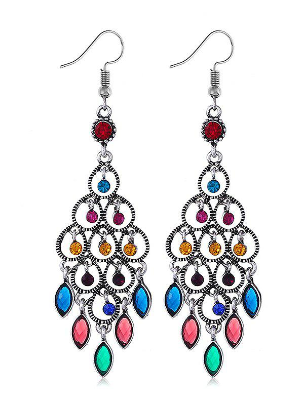 Chandeliers Design Rhinestone Drop Earrings - multicolor