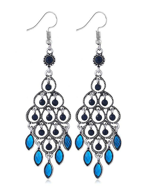 Chandeliers Design Rhinestone Drop Earrings - BLUE