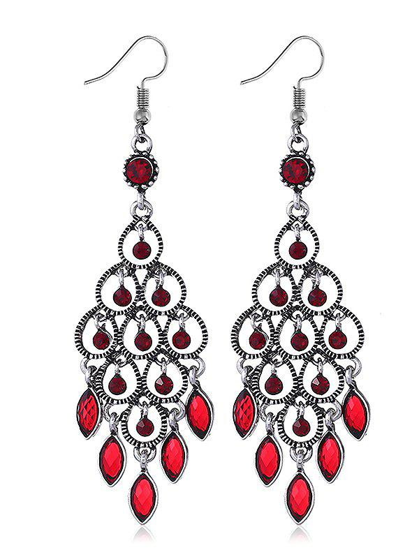 Chandeliers Design Rhinestone Drop Earrings - FIRE ENGINE RED