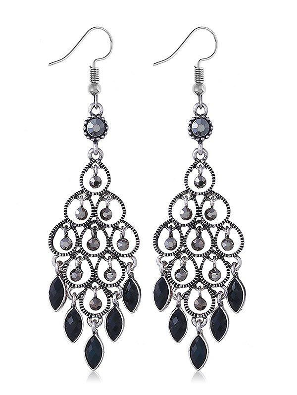 Chandeliers Design Rhinestone Drop Earrings - BLACK