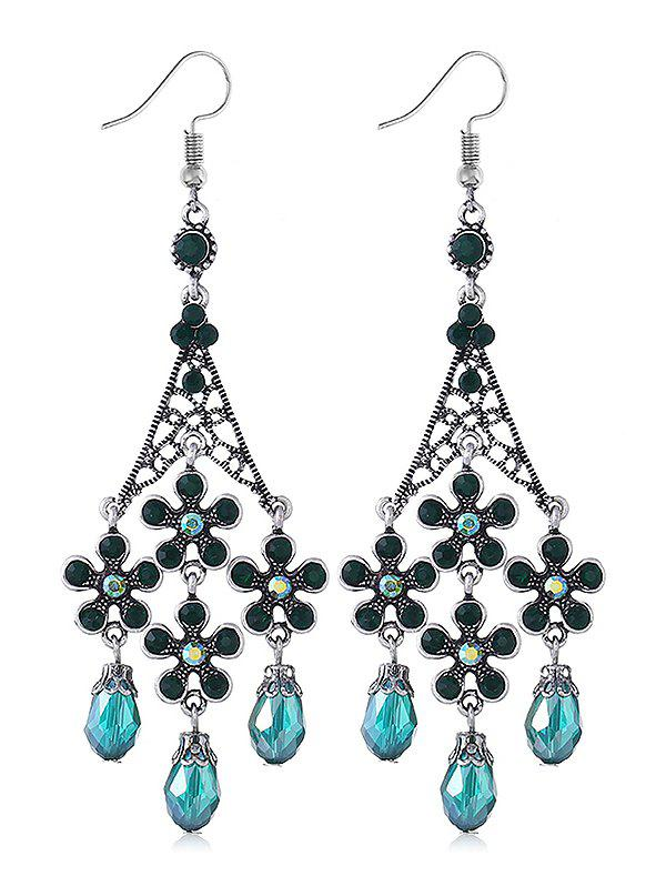 Chandelier Design Flower Rhinestone Drop Earrings - BLUE