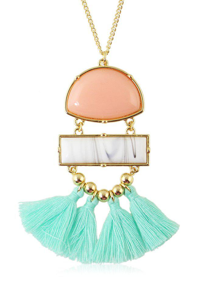 Chain Artificial Gemstone Tassels Pendant Necklace - multicolor A