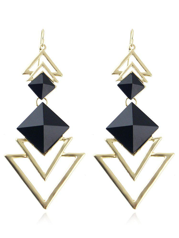 Hollow Layer Triangle Alloy Dangle Earrings - BLACK
