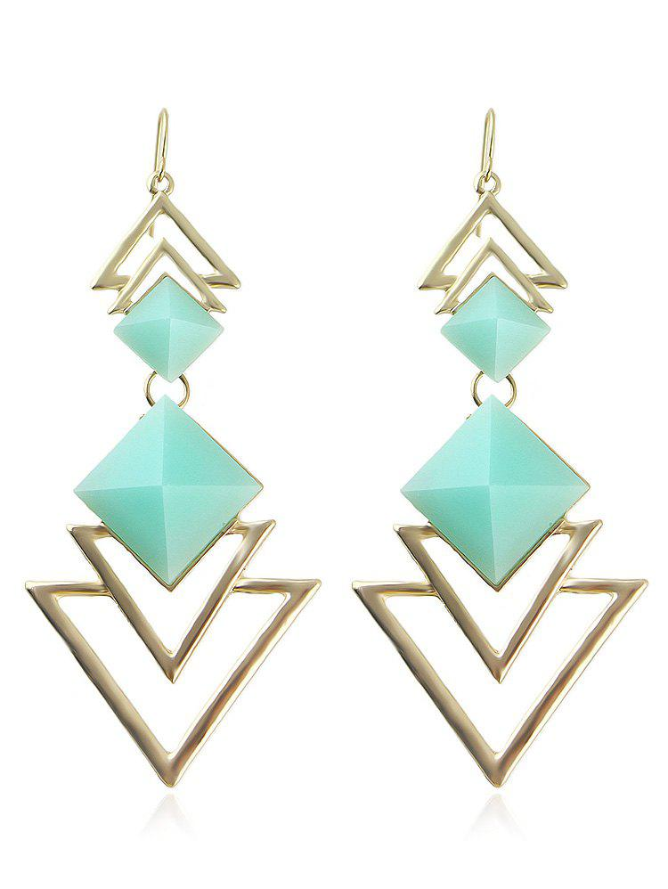 Hollow Layer Triangle Alloy Dangle Earrings - LIGHT AQUAMARINE